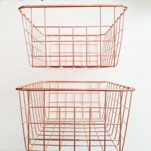 Anthropologie wire rose gold baskets 2 pack